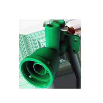 Venturi de plástico verde con filtro y niple de latón